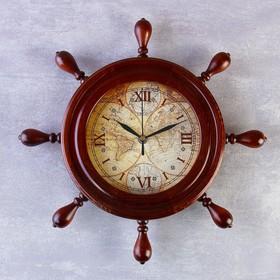 Часы настенные, серия: Интерьер, штурвал 'Карта', деревянный обод, микс 34х34 см Ош