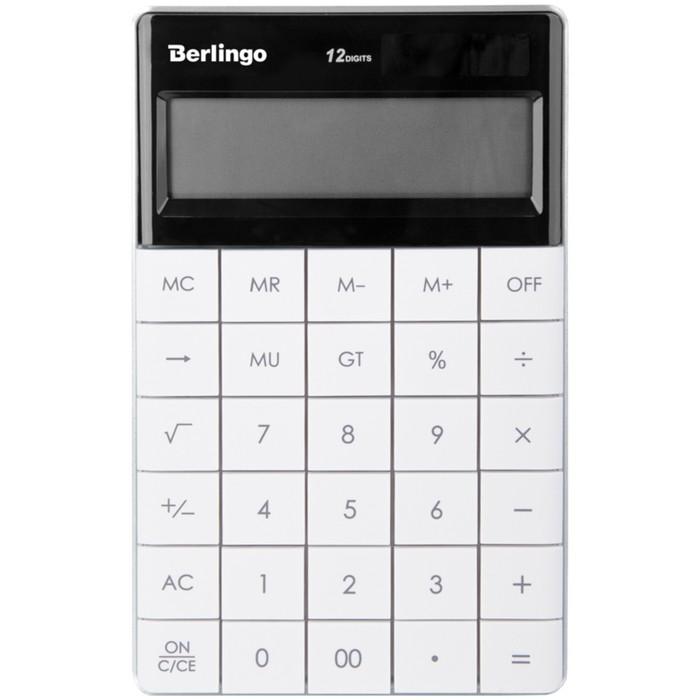 Калькулятор настольный 12 разрядов, двойное питание, 165х105х13 мм, белый