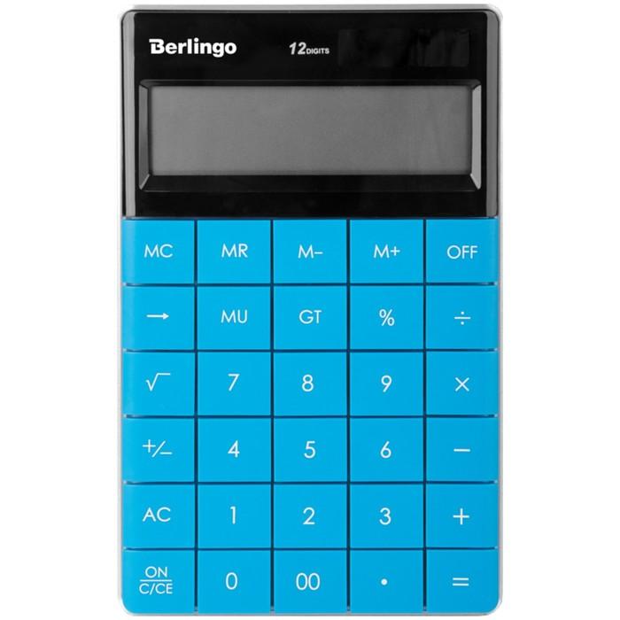 Калькулятор настольный 12 разрядов, двойное питание, 165х105х13 мм, синий