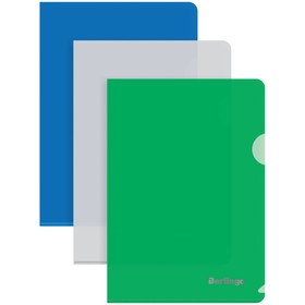 Папка-уголок А5, 180 мкм, Berlingo, синяя Ош