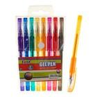 Набор гелевых ручек, 8 цветов, металлик, с блёстками, с резиновым держателем, в блистере на кнопке
