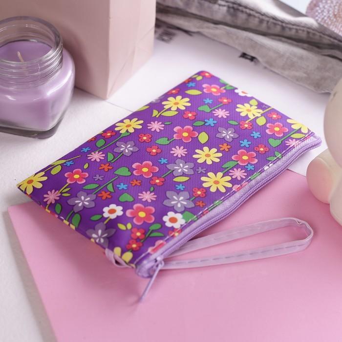 """Кошелёк детский """"Цветы"""", 1 отдел на молнии, с ручкой, цвет фиолетовый"""