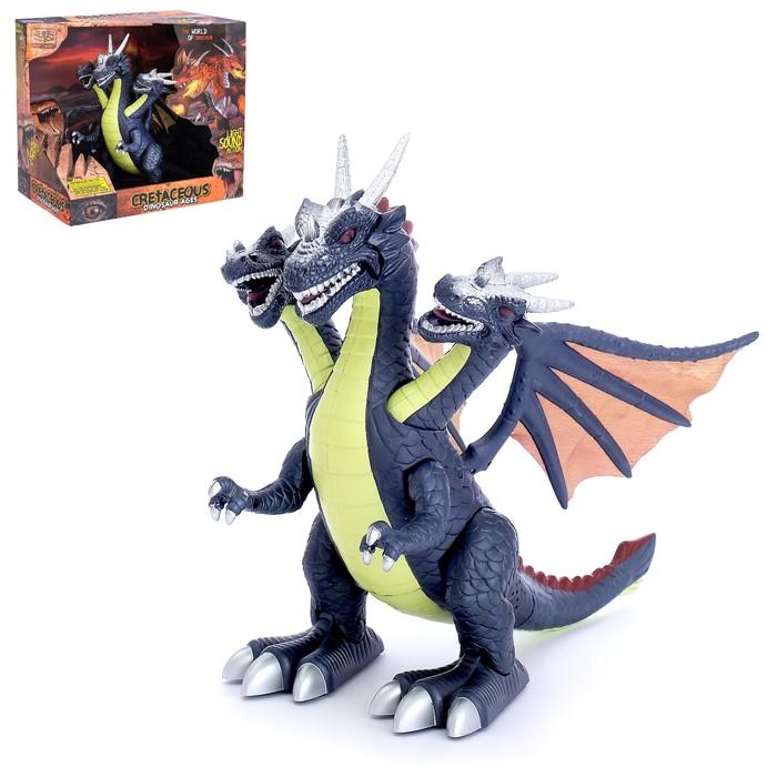 Динозавр «Дракон», работает от батареек, световые и звуковые эффекты, цвета МИКС