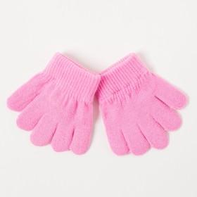 Перчатки одинарные детские, размер 11, цвет розовый 6с177/2_М