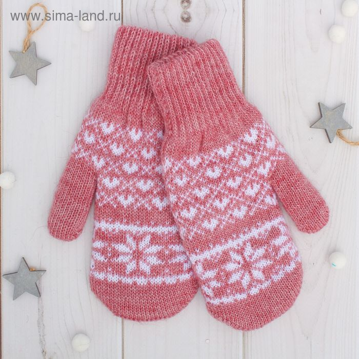 """Варежки двойные для девочки """"Рождество"""", размер 17, цвет брусничный/белый 2с229"""
