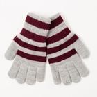 Перчатки одинарные для мальчика, размер 14, цвет серый меланж/бордовый