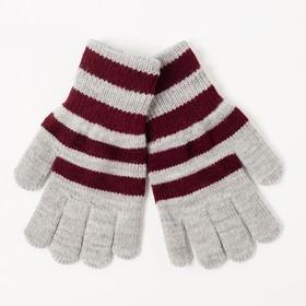 Перчатки одинарные для мальчика, размер 16, цвет серый меланж/бордовый 6с177