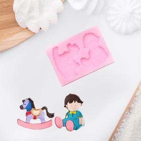 Молд силиконовый 10×7 см см 'Малыш и лошадка' Ош
