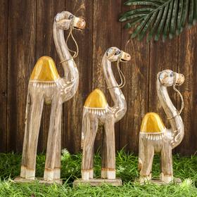 Сувенир дерево 'Верблюды Сахары' набор 3 шт 50х44х10 см Ош