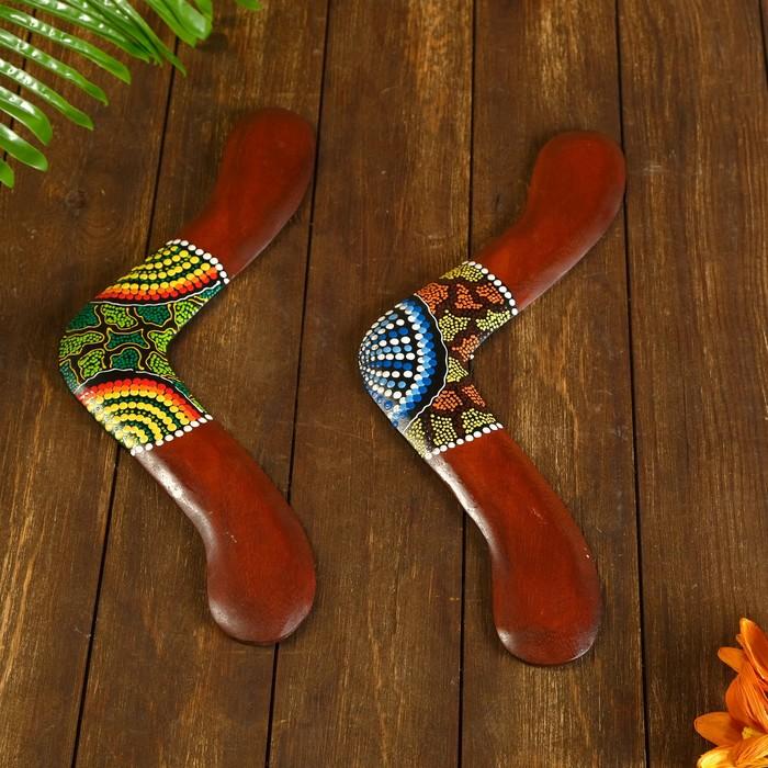 Сувенир Бумеранг с точечной росписью коричневый 40х7х1 см МИКС