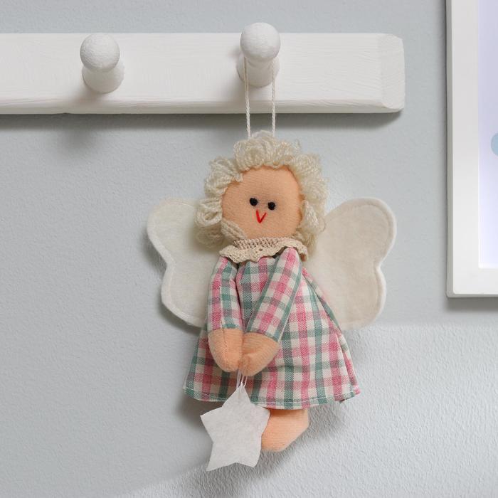 Кукла интерьерная Ангелочек, с звездой в руках, цвета МИКС