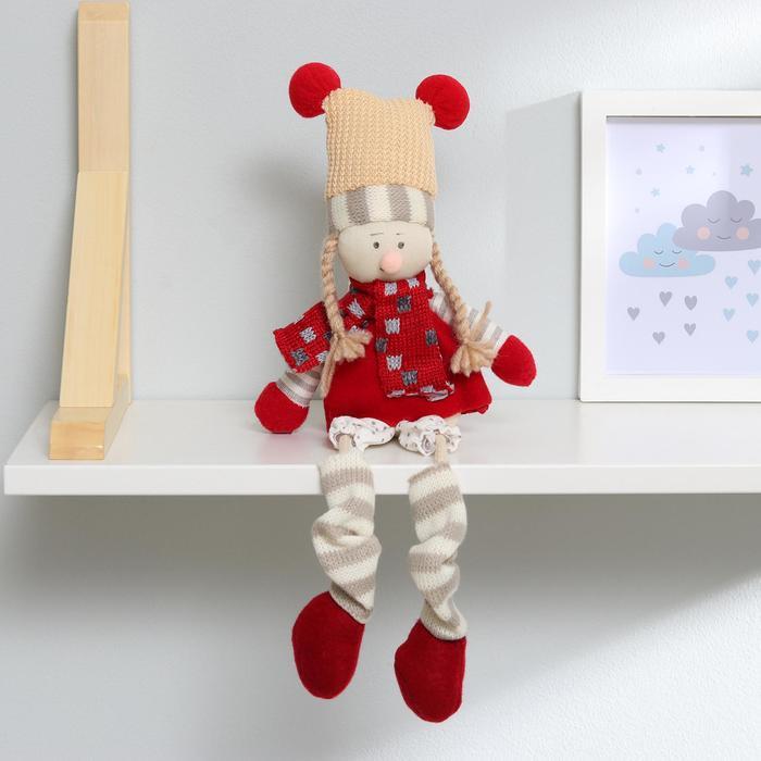 Кукла интерьерная Зимний наряд, висячие ножки, виды МИКС