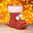 Подарочная упаковка «Сапожок», вязаный, бантик с помпонами