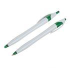 Ручка шариковая, автоматическая, корпус белый с зелёным,стержень синий 0.5 мм