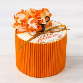 Шкатулка - соломка 'Мамочка, я тебя люблю', круглая, оранжевая Ош