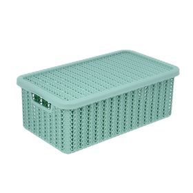 Корзина для хранения с крышкой IDEA «Вязание», 3 л, 27×15×10 см, цвет фисташковый