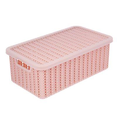 Корзина для хранения с крышкой IDEA «Вязание», 3 л, 27×15×10 см, цвет розовый