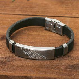 """Браслет унисекс """"Стиль"""" прямоугольник с узором, цвет чёрный в серебре,L=23 см"""