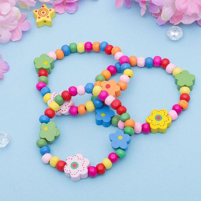Браслет детский Выбражулька цветы радужные, цвет МИКС