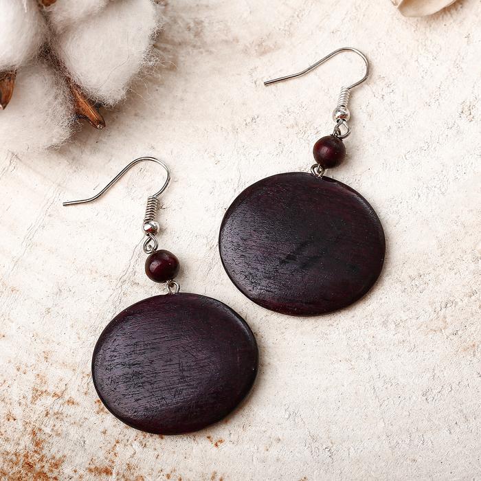"""Серьги ручная работа, деревянные """"Монетки"""" d=2,8см, цвет тёмно-коричневый"""