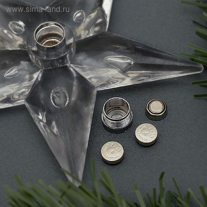 """Игрушка световая """"Снежинка"""" (батарейки в комплекте), d=8 см, 1 LED, RGB"""