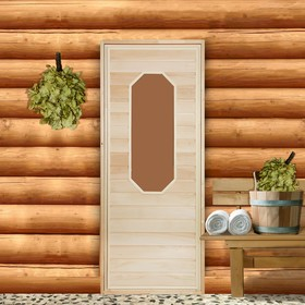 Дверь для бани со стеклом 'Ромашка', 160×70см Ош