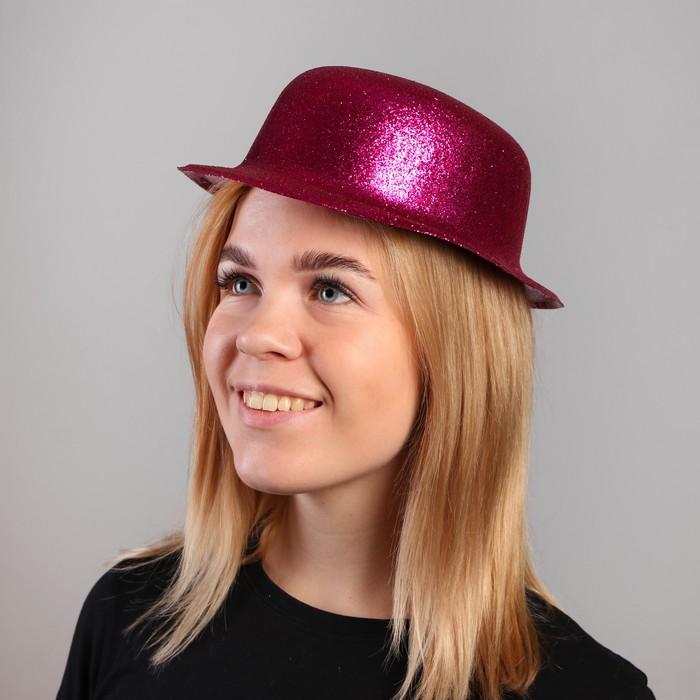 Карнавальная шляпа, овальная, с каёмкой, блестящая, р-р. 56, цвета МИКС