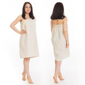 Килт(юбка) жен. комбинированный, арт:КЛ-11 75х145 горошек, полулён, Хл50%, лён50%, 160 г/м Ош