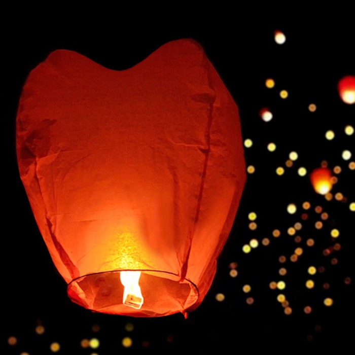 Фонарь желаний, форма сердце, цвет красный
