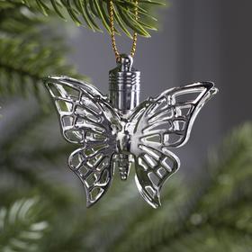 Подвеска световая 'Бабочка серебряная' (батарейки в комплекте), 5,5 см, 1 LED, RGB Ош