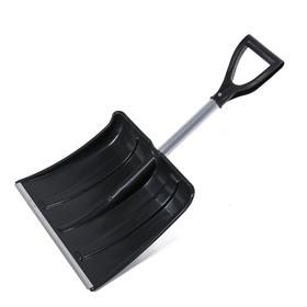 Лопата автомобильная пластиковая, ковш 380 × 370 мм, с алюминиевой планкой, алюминиевый черенок, с ручкой, «Мини» Ош