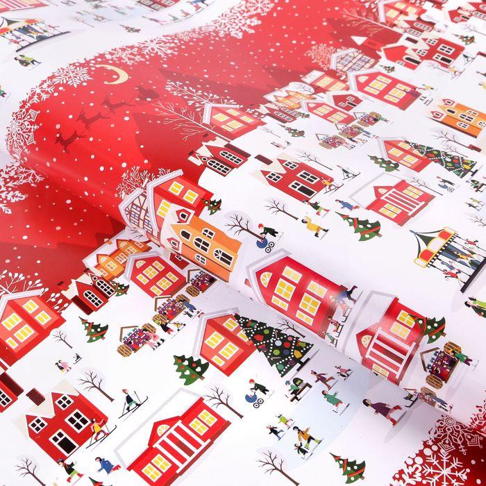 Бумага упаковочная глянцевая «А в городе зима», 70 × 100 см