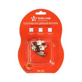Колпачки на шинный вентиль с ключом, хром/металл AVC-02 Ош