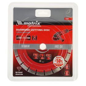 Диск алмазный отрезной сегментный MATRIX Professional, ф180х22,2мм, тонкий, сухое резание