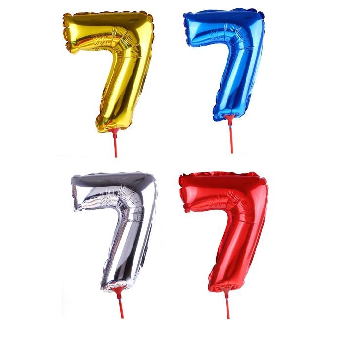 Шар фольгированный 14, цифра 7, с палочкой, цвета МИКС
