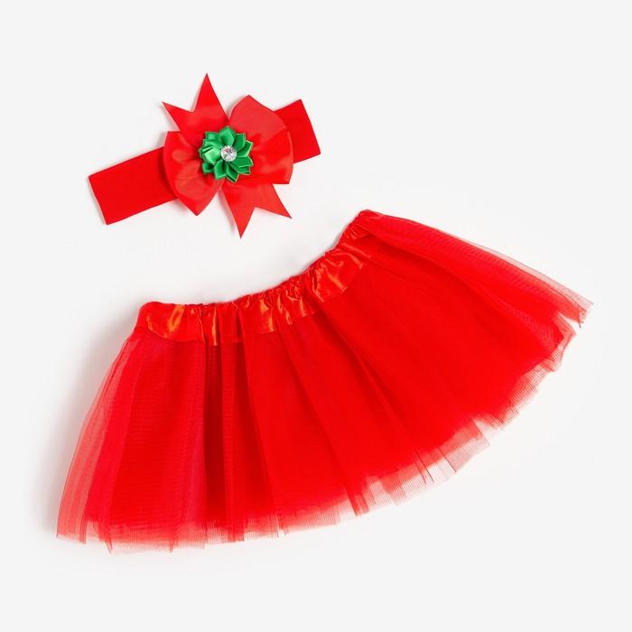 """Набор """"Новогодний"""" юбка и повязка на голову, 3-18 мес, красный"""