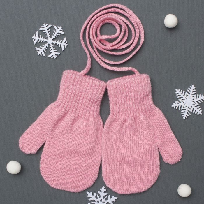 Варежки детские на верёвочке Collorista, размер 14 (р-р произв. 12*7 см), цвет розовый