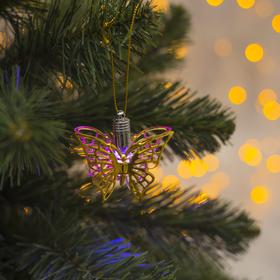 Подвеска световая 'Бабочка золотистая' (батарейки в комплекте), 5,5 см, 1 LED, RGB Ош