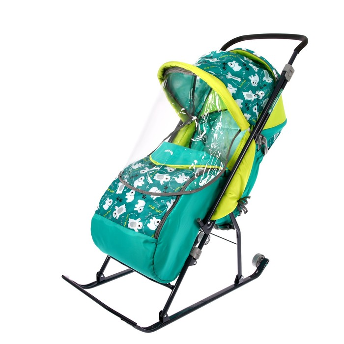 Санки- коляска «Умка 3. Мишки», цвет изумрудый
