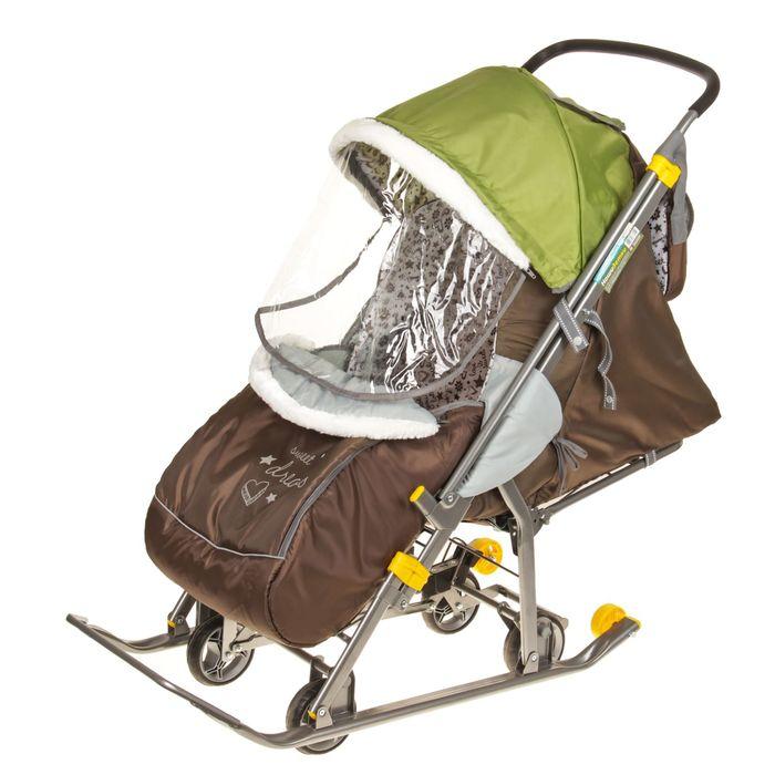 Санки-коляска «Наши детки», цвет фьюжн оливковый