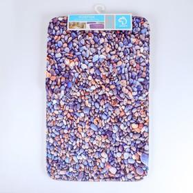 Набор ковриков для ванны и туалета Доляна «Галька», 2 шт: 40×50, 50×80 см