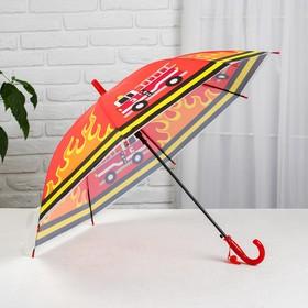 Зонт детский полуавтоматический «Пожарная машина», r=40см, цвет оранжевый Ош