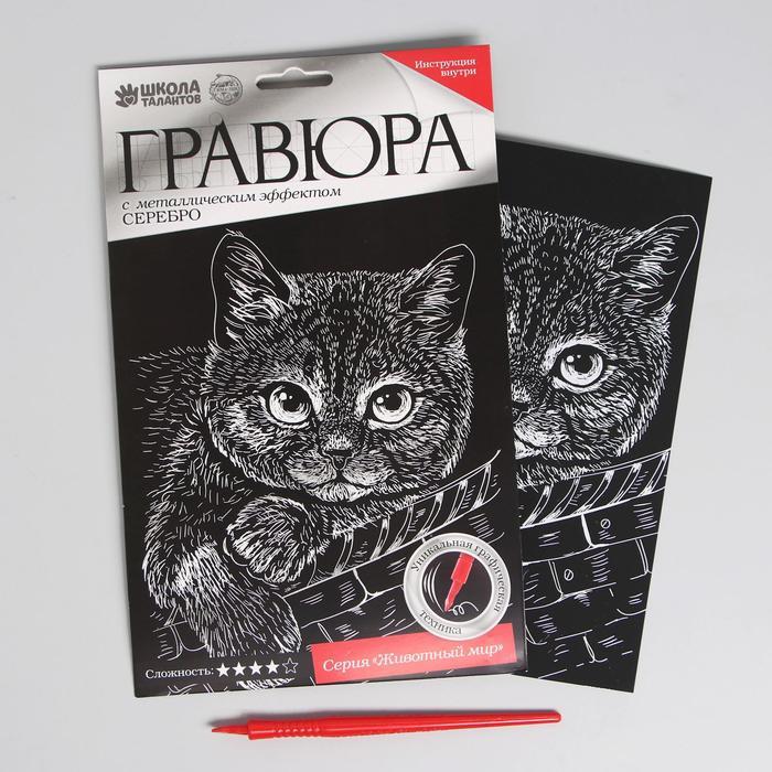 Гравюра «Котёнок» с металлическим эффектом «серебро» А5