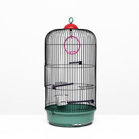 Клетка для птиц круглая, трехярусная сварная, малый поддон, 33 x 77 см, микс цветов Ош