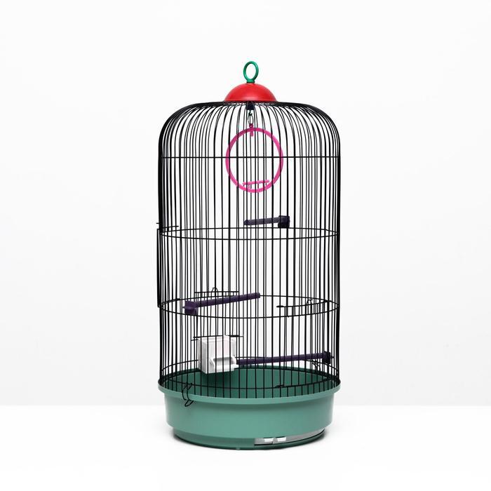 Клетка для птиц круглая, трехярусная сварная, малый поддон, 33 x 77 см, микс цветов