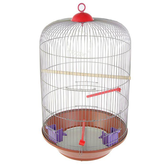Клетка для птиц круглая, трехярусная сварная, большой поддон, 40 x 77 см, микс цветов