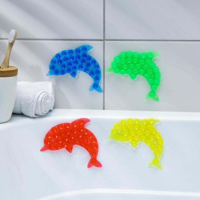 Мини-коврик для ванны «Дельфин», 11×16 см, цвет МИКС