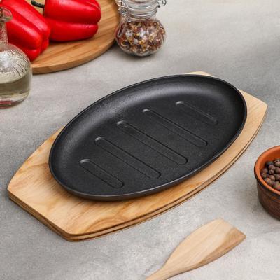 Сковорода «Гриль», 26,3×17 см, на деревянной подставке - Фото 1