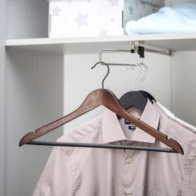 Вешалка-плечики для одежды с перекладиной Доляна, размер 46-48, дерево вишня, цвет МИКС
