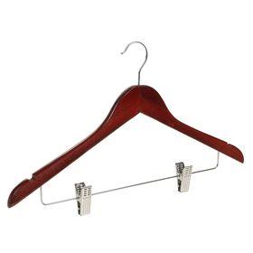 Вешалка-плечики для одежды с зажимами Доляна, размер 46-48, цвет вишнёвый